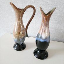 2 vases en grès flammes grand feu