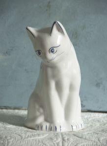 Statuette chat en faïence