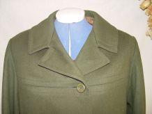 Manteau vintage de laine vert mousse taille 42/44