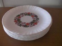 6 Assiettes plates ARCOPAL