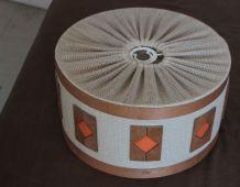 Suspension,abat-jour bois et tissu années 50