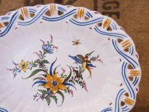 Assiette mural, corbeille à fruits en faïence  Lallier