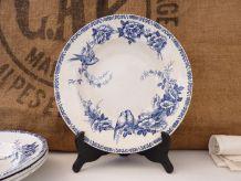 4 assiettes creuses St Amand modèle Mesanges bleu