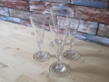 4 coupes flutes a champagne en cristal soufflée