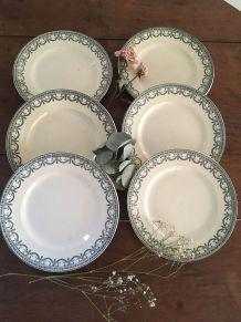 Six assiettes plates terre defer R&A salins.