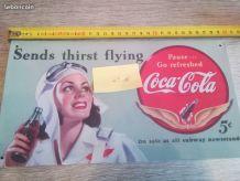 plaque coca cola en tôle signée coca cola