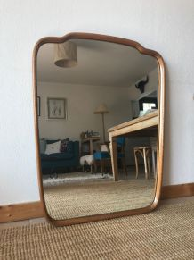Grand miroir forme libre années 70
