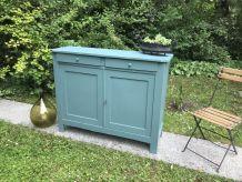 Buffet de ferme vintage 1940 bleu vert