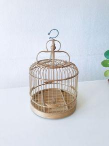 Cage à oiseaux vintage en bois