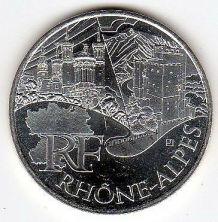 Pièce de 10 euros en argent de la région Rhône-Alpes -2011