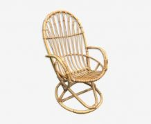 Grand fauteuil en rotin vintage 1960