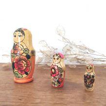 3 poupées russes vintage Matriochka emboîtables