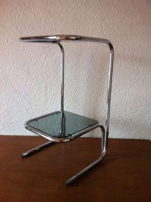 Table d'appoint vintage 70 en verre et métal chromé