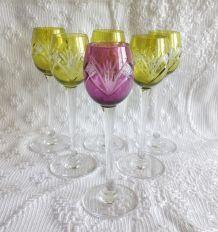 Suite de 6 verres à liqueur en cristal de Nancy