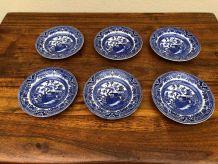 6 assiettes faience Burleigh Ware modèle Blue Wilow