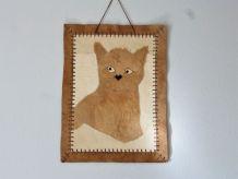Décoration murale chat, patchwork chat en cuir, cadeau chat.