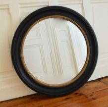 Miroir rond noir et doré