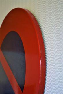 Panneau de signalisation routière émaillé - vintage 70's