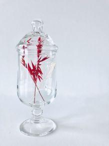 Flacon d'apothicaire sur pied en verre