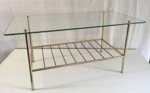 Table basse moderniste laiton et verre – années 50/60