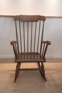Rocking chair Stol Kamnik années 60 chêne foncé