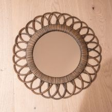 Miroir rotin vintage diamètre 41cm