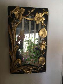 Miroir en bois au style bohème des années 70/80.