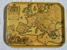plateau de service , carte d'europe , vintage