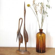 Couple de hérons vintage en bois sculpté