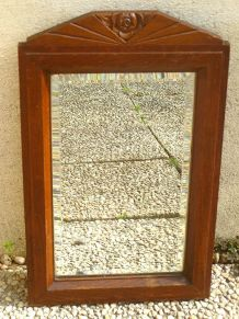 miroir  en  bois , biseauté, vintage