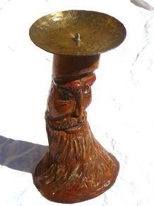 bougeoir ancien artisanal en bois