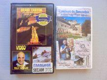 2 cassettes VHS reportage *Grand Canyon *Abbaye de Boscodon