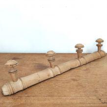 Porte manteau bois brut vintage 4 patères champignon