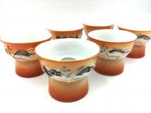 6 verres a saké en porcelaine
