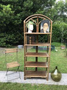 Étagère bibliothèque en bambou et rotin vintage