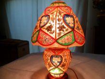 Lampe cuir chameau Pakistan vintage