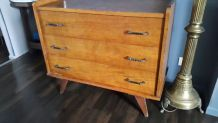 Commode vintage scandinave pieds compas