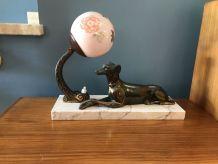 Lampe Art Déco en métal doré, marbre et verre 1930