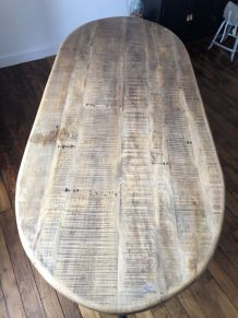 Table industrielle loft métal/bois hauteur ajustable 235x100