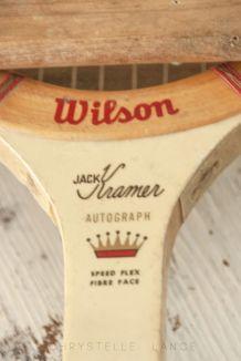 Raquette tennis vintage en bois et son cadre de transport