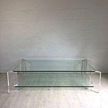 Table basse vintage 70's en verre et plexiglas