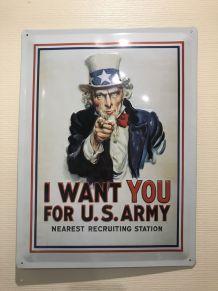 """Affiche en métal """"I Want You For U.S. Army"""" (40 cm x 30 cm)"""