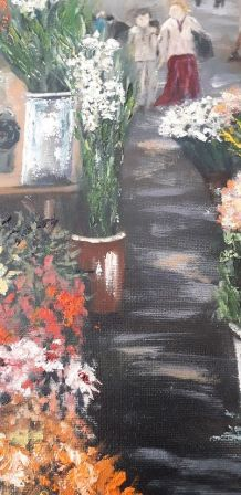 Tabeau-Peinture à l'huile - Original - Marché de Beziers