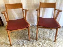 Duo de fauteuils pieds compas – années 50