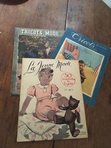 Lot de 3 magazines tricots couture années 50/60.