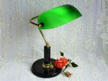 Lampe de banquier, lampe de notaire, lampe laiton et opaline