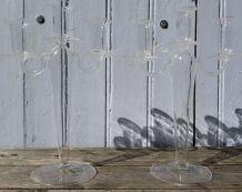 Paire bougeoirs en verre soufflé 3 branche