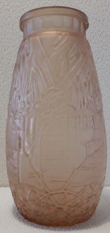 vase art nouveau en verre orange