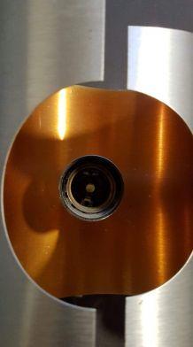 paire d'appliques vintage métal brossé et intérieur orange