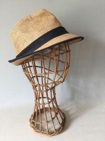 Tête à chapeau, marotte en rotin
